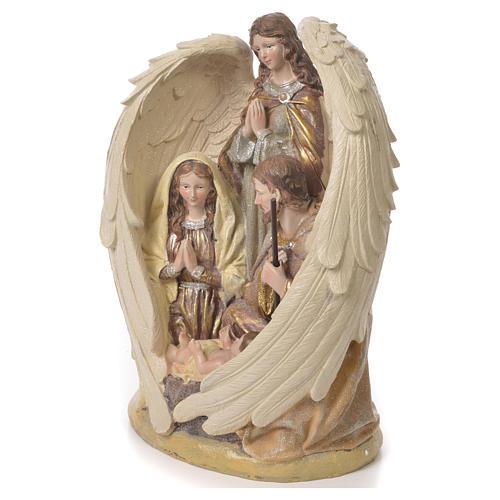 Sacra Famiglia con Angelo 31 cm resina fin. Multigold 2