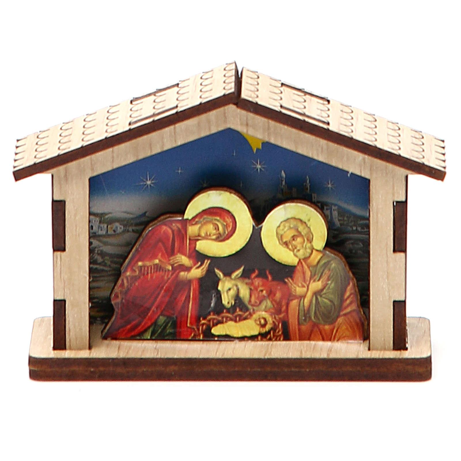 Mała szopka Święta Rodzina z drewna 3