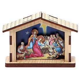 Mała szopka Święta Rodzina z drewna s1