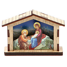 Mała szopka Święta Rodzina z drewna s2