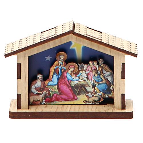 Mała szopka Święta Rodzina z drewna 1