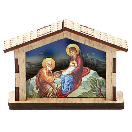 Mała szopka Święta Rodzina z drewna 2