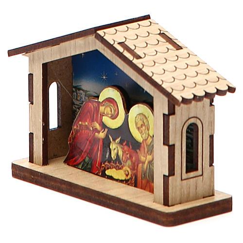 Mała szopka Święta Rodzina z drewna 4
