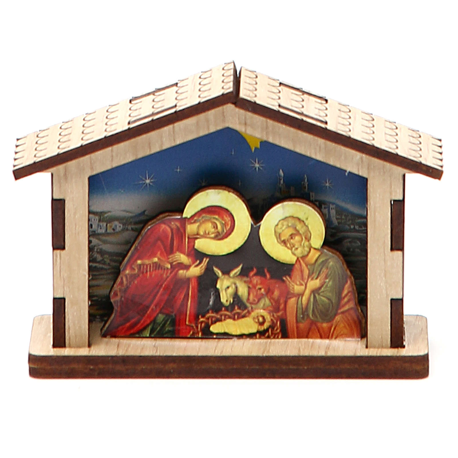 Mini Nativity Scene Holy Family made of wood 3