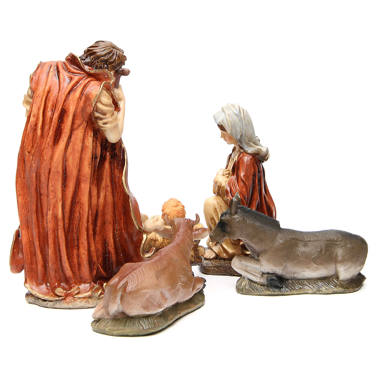 Nativity figurine in resin 32cm, soft colour, 5 statues 3