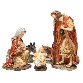 Nativity figurine in resin 32cm, soft colour, 5 statues s1
