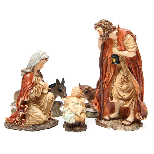 Nativity figurine in resin 32cm, soft colour, 5 statues 1