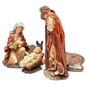 Święta Rodzina żywica 32cm delikatne kolory 5 figurek s2
