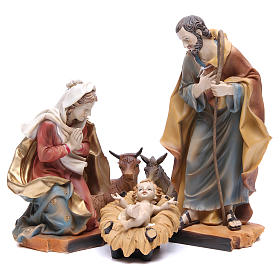 Nativity scene with ox and donkey, 30cm in resin s1