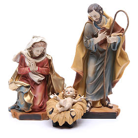 Nativity scene with ox and donkey, 30cm in resin s2