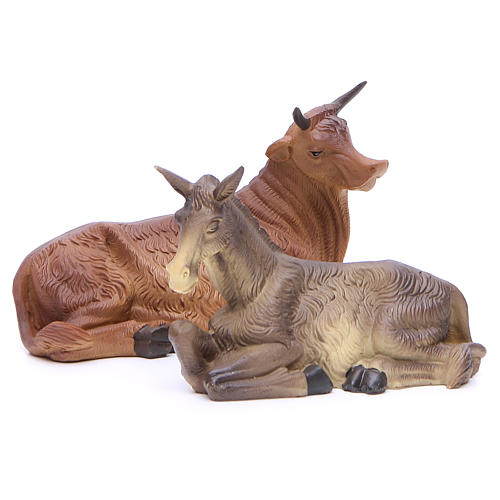 Nativity scene with ox and donkey, 30cm in resin 4