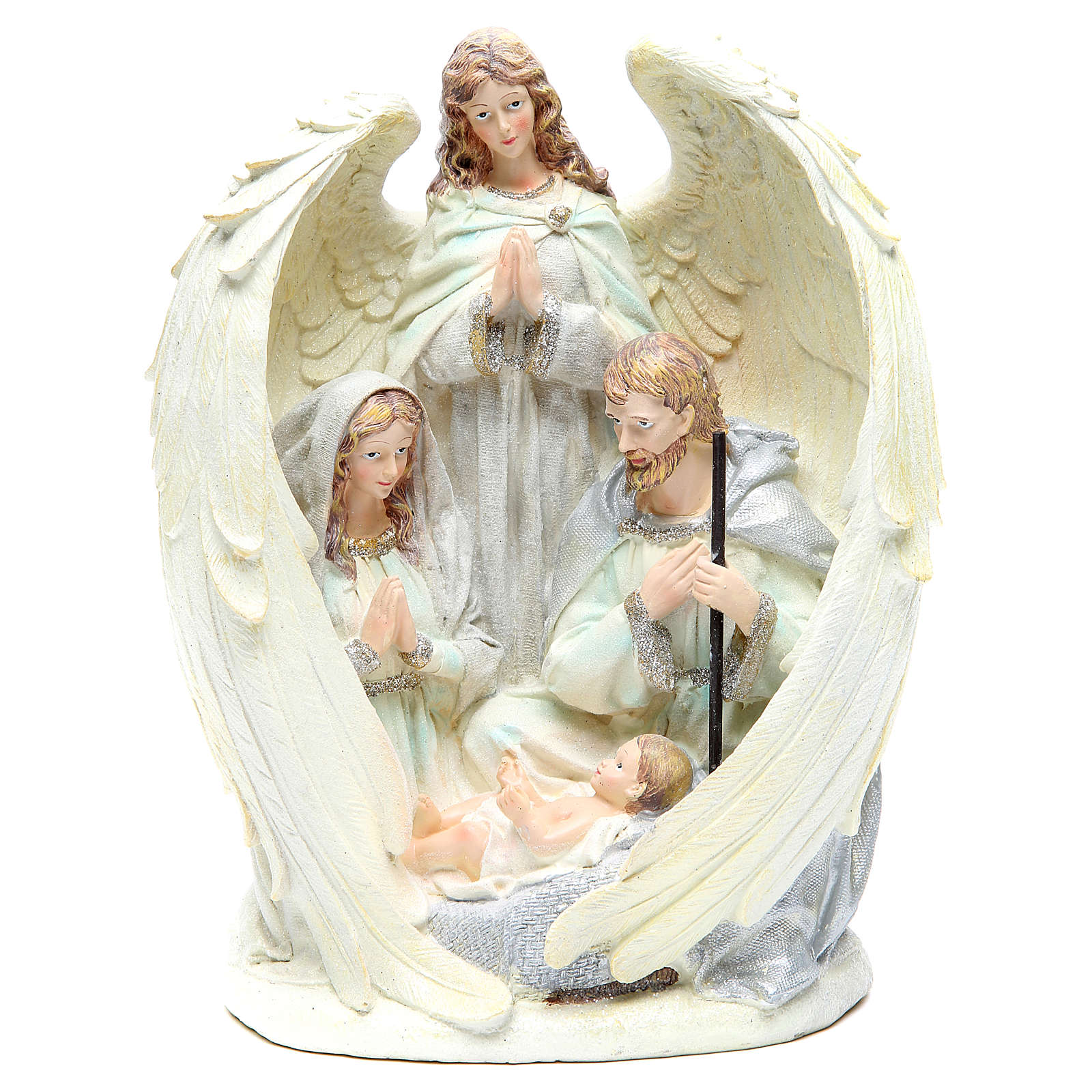 Holy family with angel measuring 31cm, in resin with White finish 3