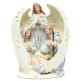 Holy family with angel measuring 31cm, in resin with White finish s1