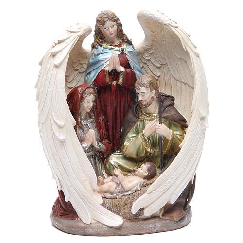 Sacra Famiglia con Angelo 31 cm resina fin. Natural 1
