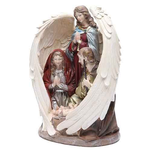 Sacra Famiglia con Angelo 31 cm resina fin. Natural 2