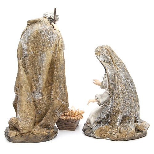 Nativity measuring 31.5cm, 3 figurines in resin with Cream Gold finish 4