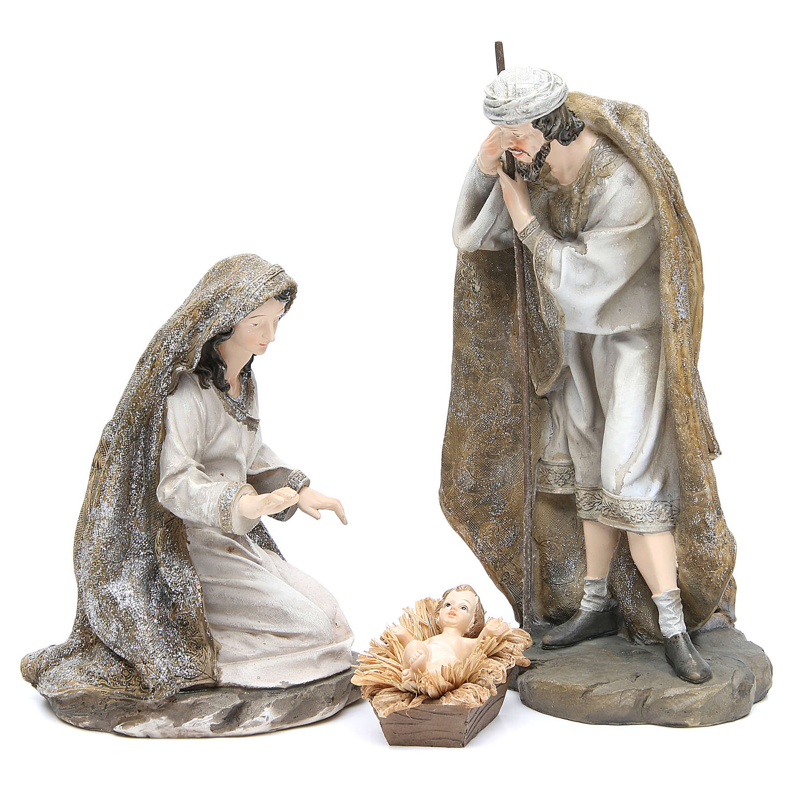 Nativity measuring 31.5cm, 3 figurines in resin with Cream Gold finish 3