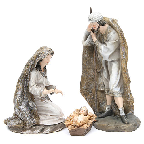 Nativity measuring 31.5cm, 3 figurines in resin with Cream Gold finish 1