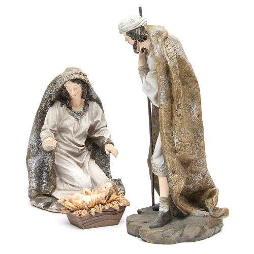Nativity measuring 31.5cm, 3 figurines in resin with Cream Gold finish 2