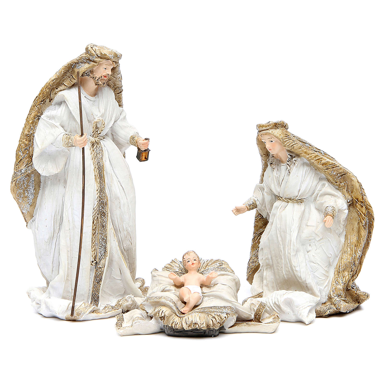 Nativity measuring 19cm, 3 figurines in resin with Cream Gold finish 3
