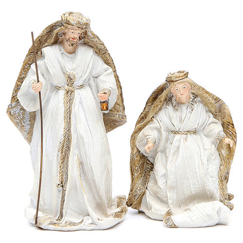 Nativity measuring 19cm, 3 figurines in resin with Cream Gold finish 2