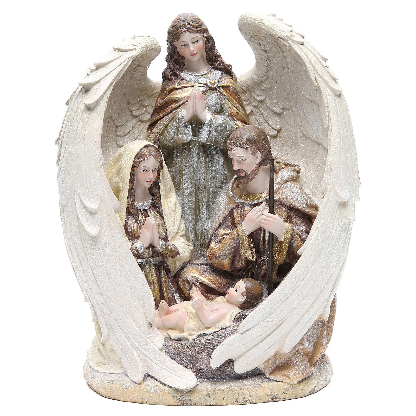 Sacra Famiglia con angelo 31 cm resina 3