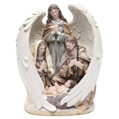 Sacra Famiglia con angelo 31 cm resina 1