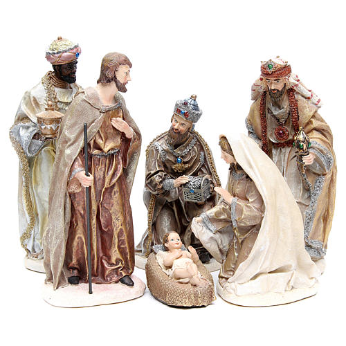 Nativity measuring 31cm, in resin with multi Gold finish 1