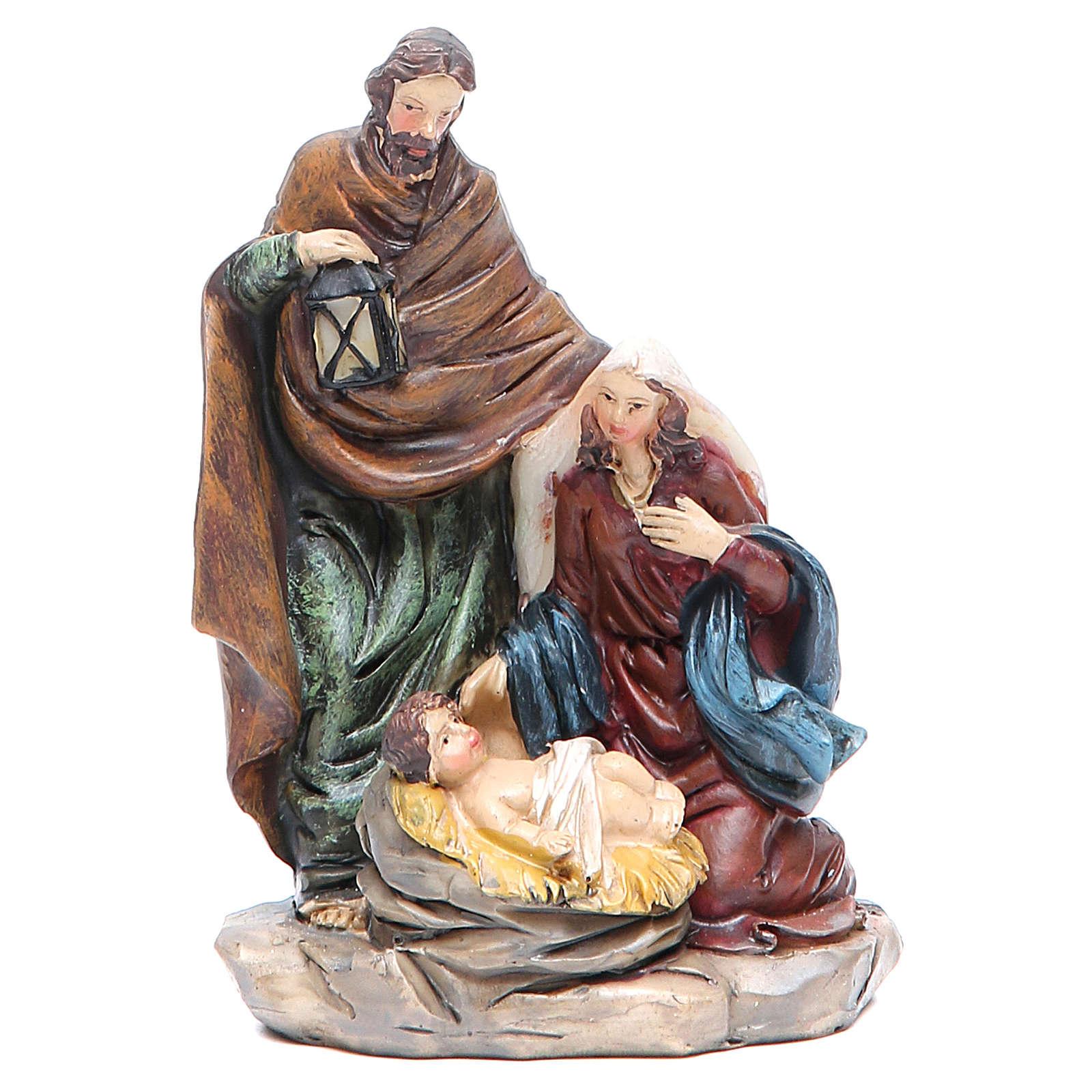 Nativity measuring 11.5cm, in resin with lantern 3