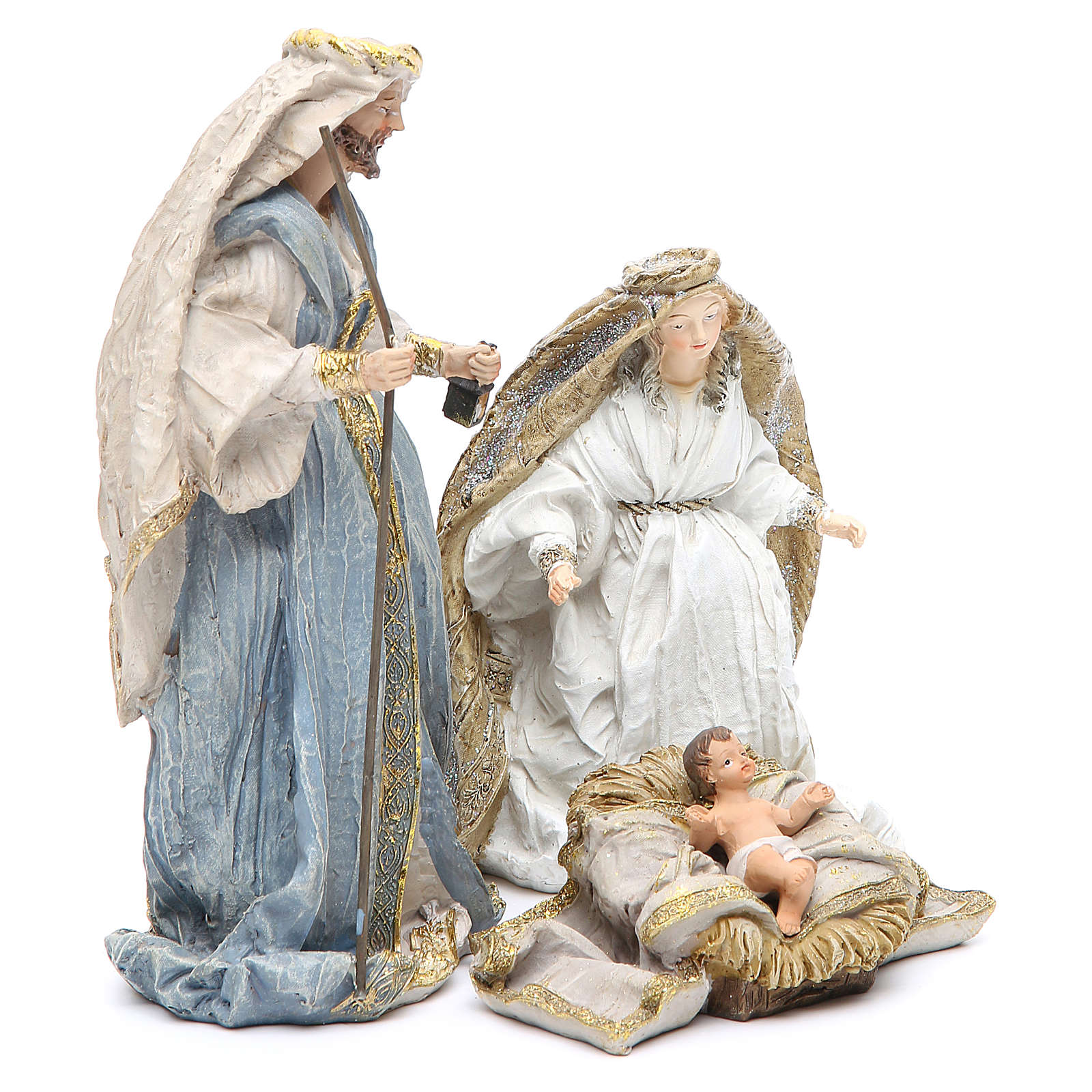 Nativity with 3 characters measuring 19cm, multicoloured resin 3