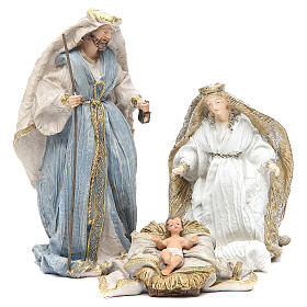 Nativity with 3 characters measuring 19cm, multicoloured resin s1