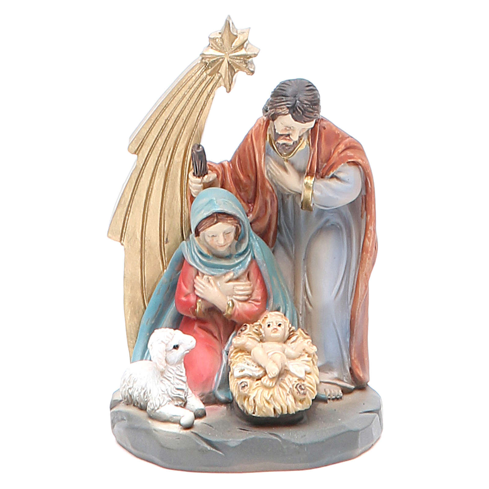 Nativity with 3 characters measuring 7cm, resin 3