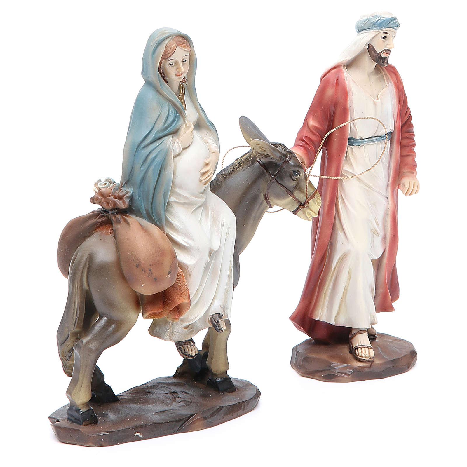 Giuseppe e Maria incinta su asino 13,5 cm in resina 3