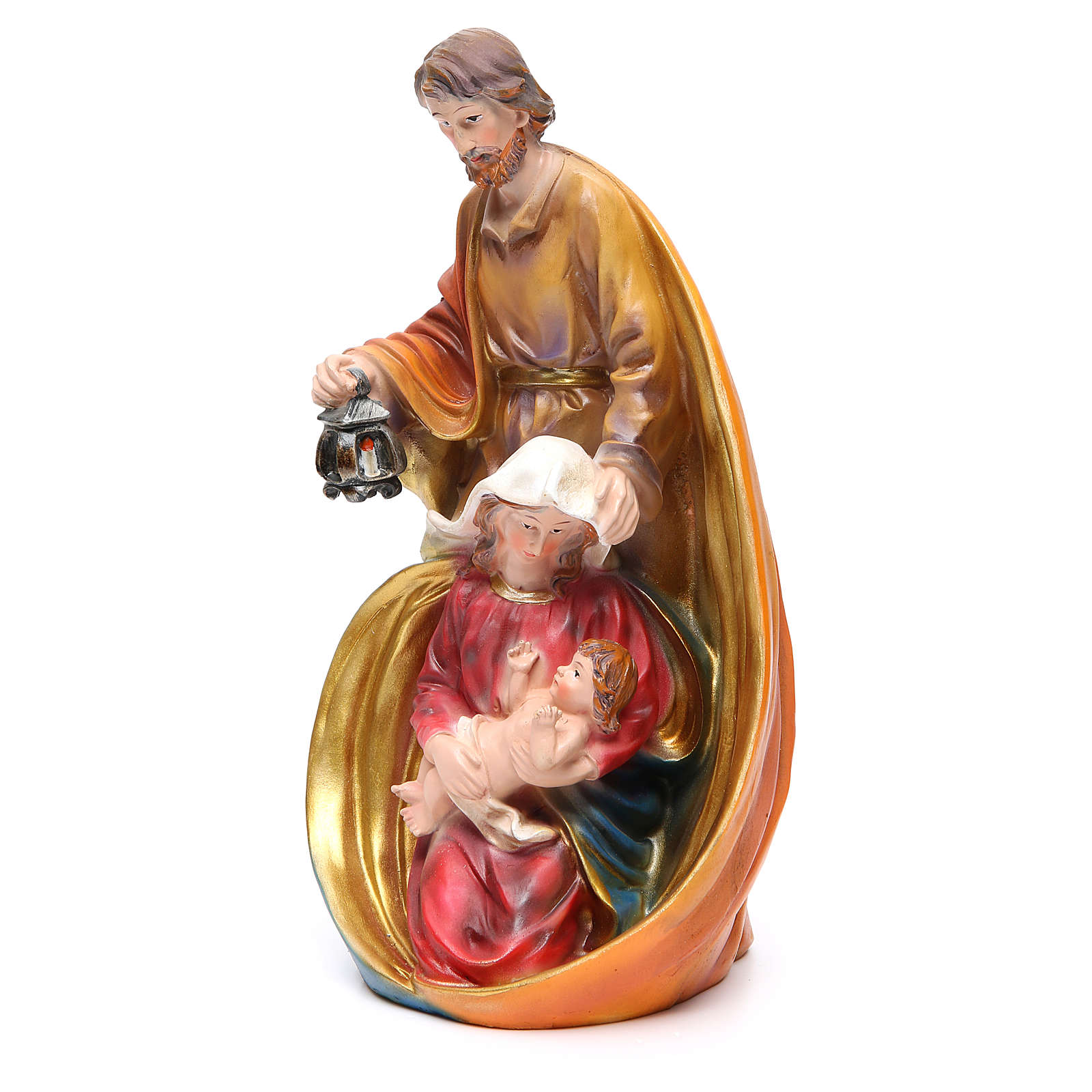 Holy Family set with 3 characters in coloured resin measuring 33cm 3