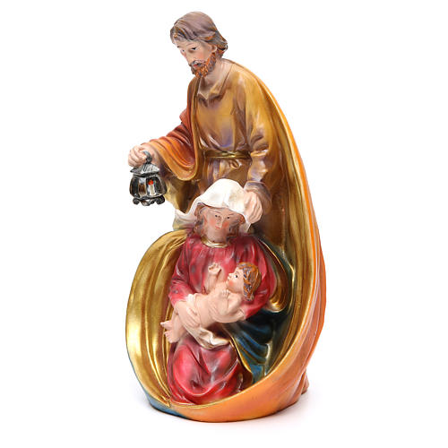 Holy Family set with 3 characters in coloured resin measuring 33cm 2
