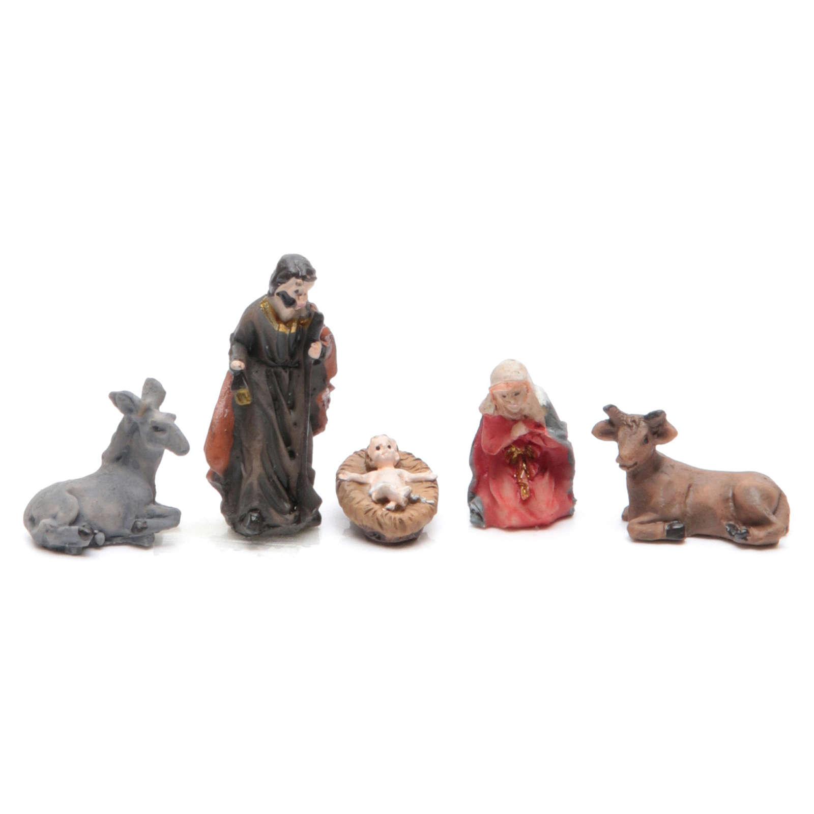 Mini Nativity scene in coloured resin 5 pcs, 3.3cm 3