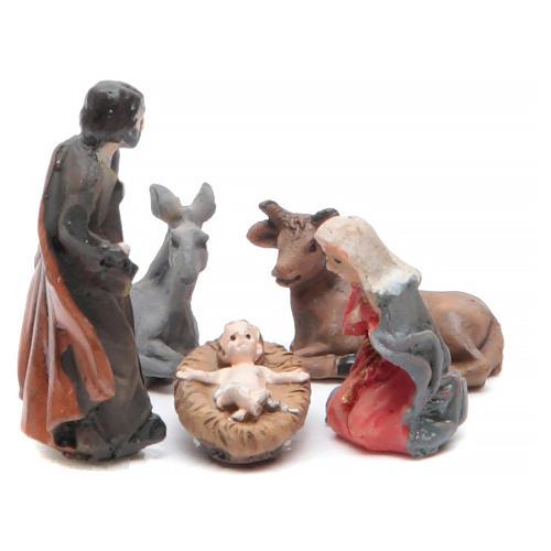 Mini Nativity scene in coloured resin 5 pcs, 3.3cm 1