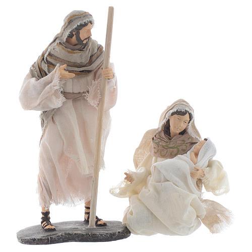 Nativité résine et tissu beige 25 cm 1