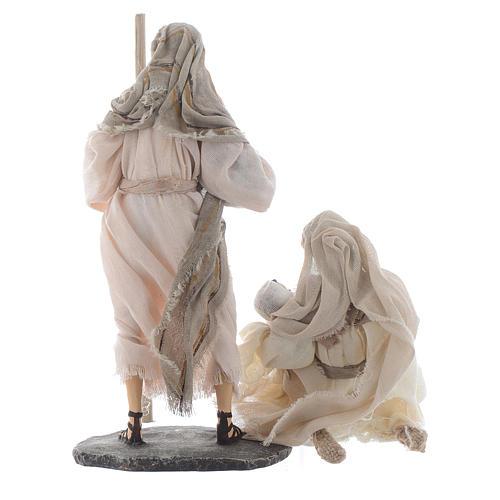 Nativité résine et tissu beige 25 cm 2