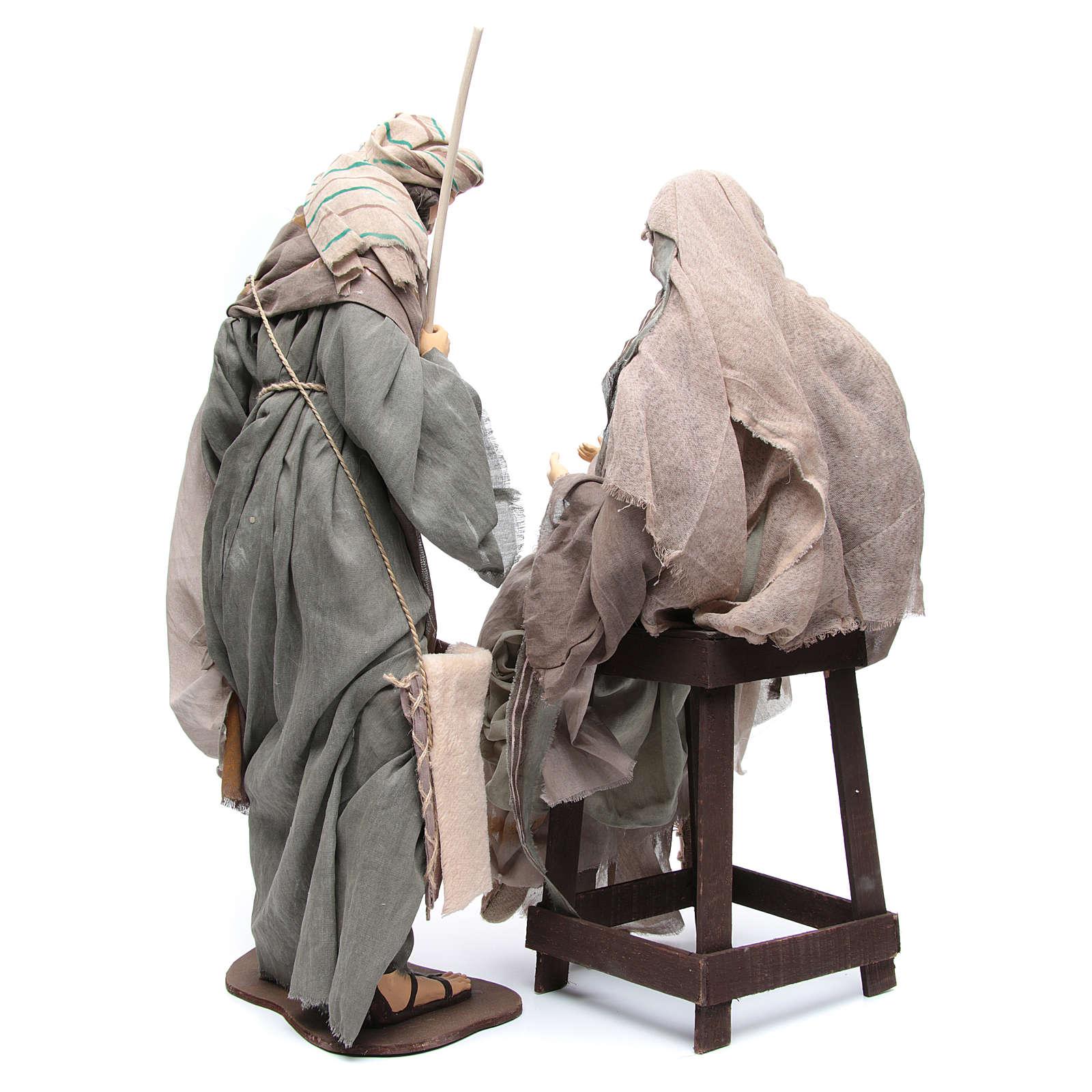 Nativité 75 cm tissu marron chaise 3
