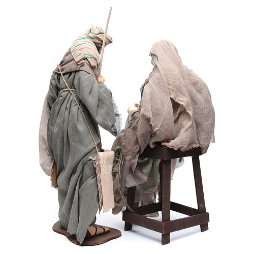 Nativité 75 cm tissu marron chaise 4