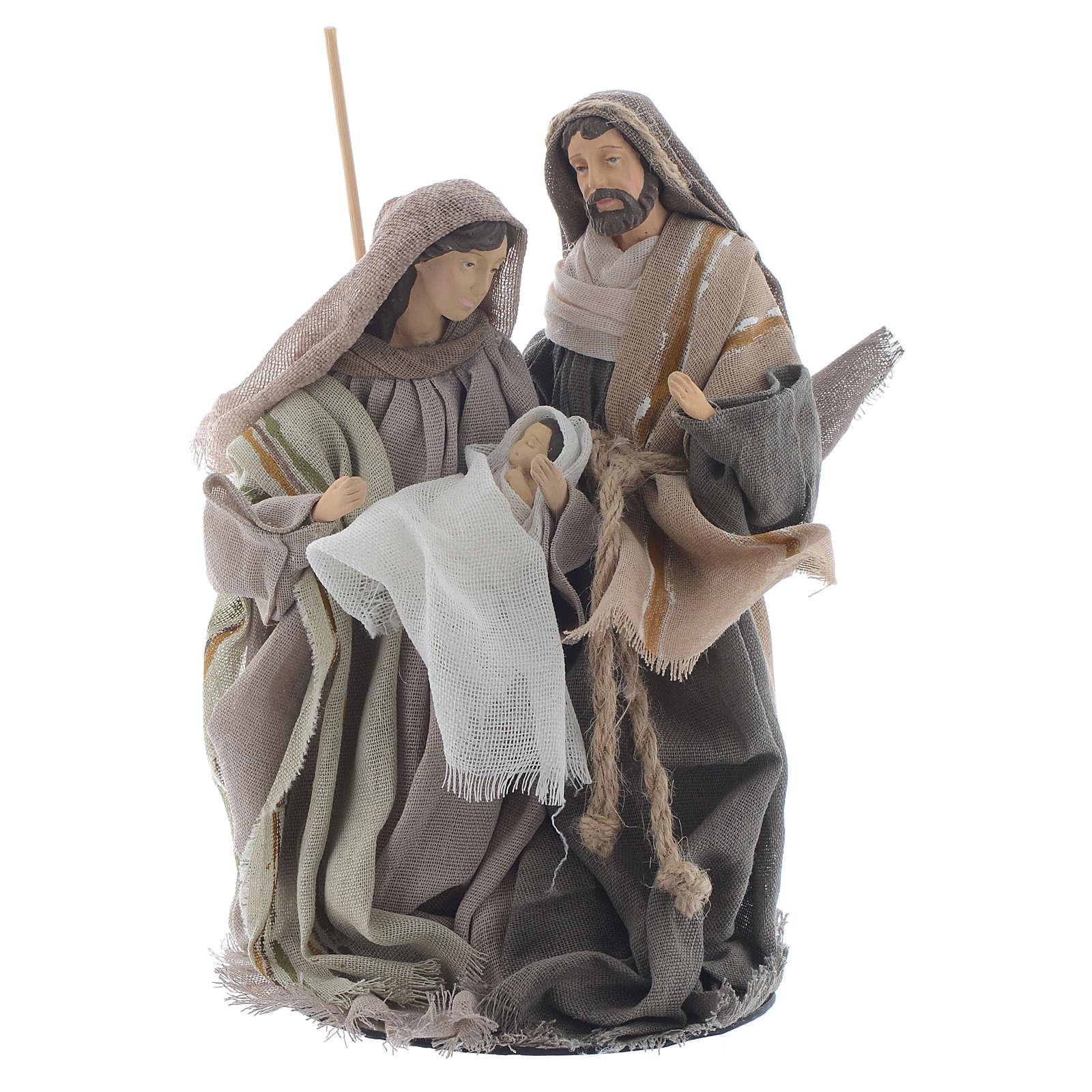 Nativité 20 cm en résine avec tissu beige 3