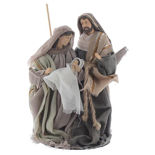 Nativité 20 cm en résine avec tissu beige 1