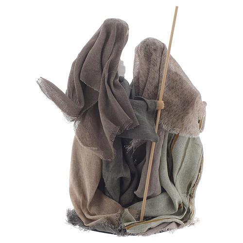 Nativité 20 cm en résine avec tissu beige 2