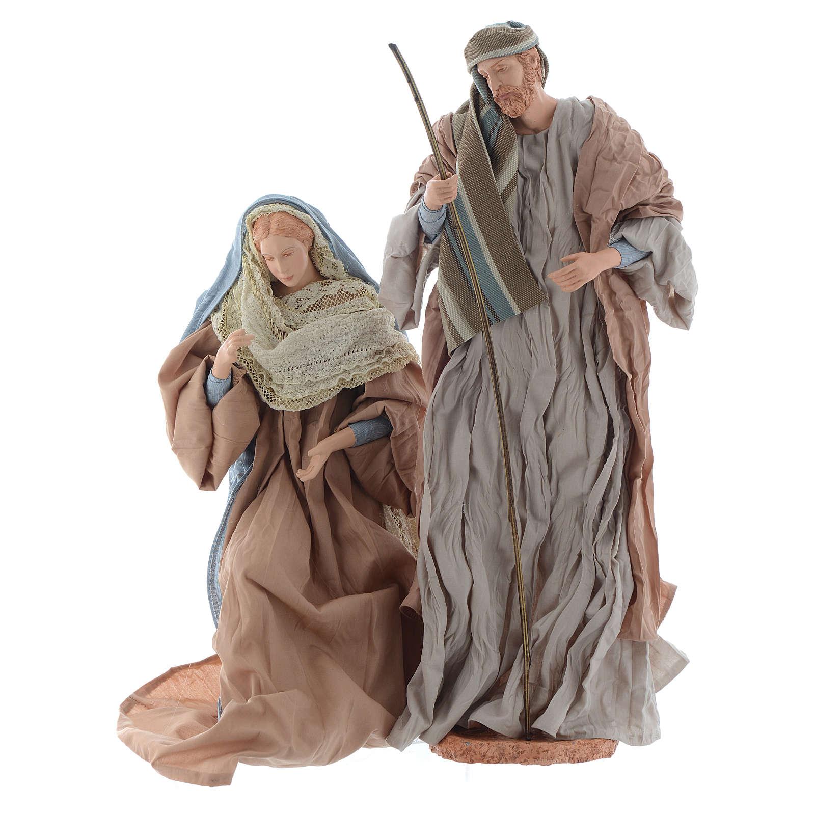 Natividad 44 cm resina y tela ocre y celeste 3