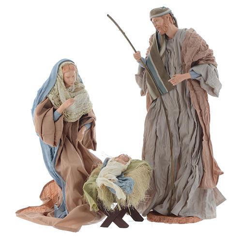 Natividad 44 cm resina y tela ocre y celeste 1