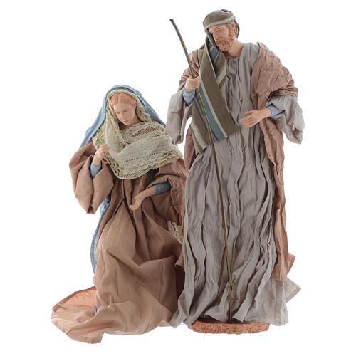 Natividad 44 cm resina y tela ocre y celeste 2