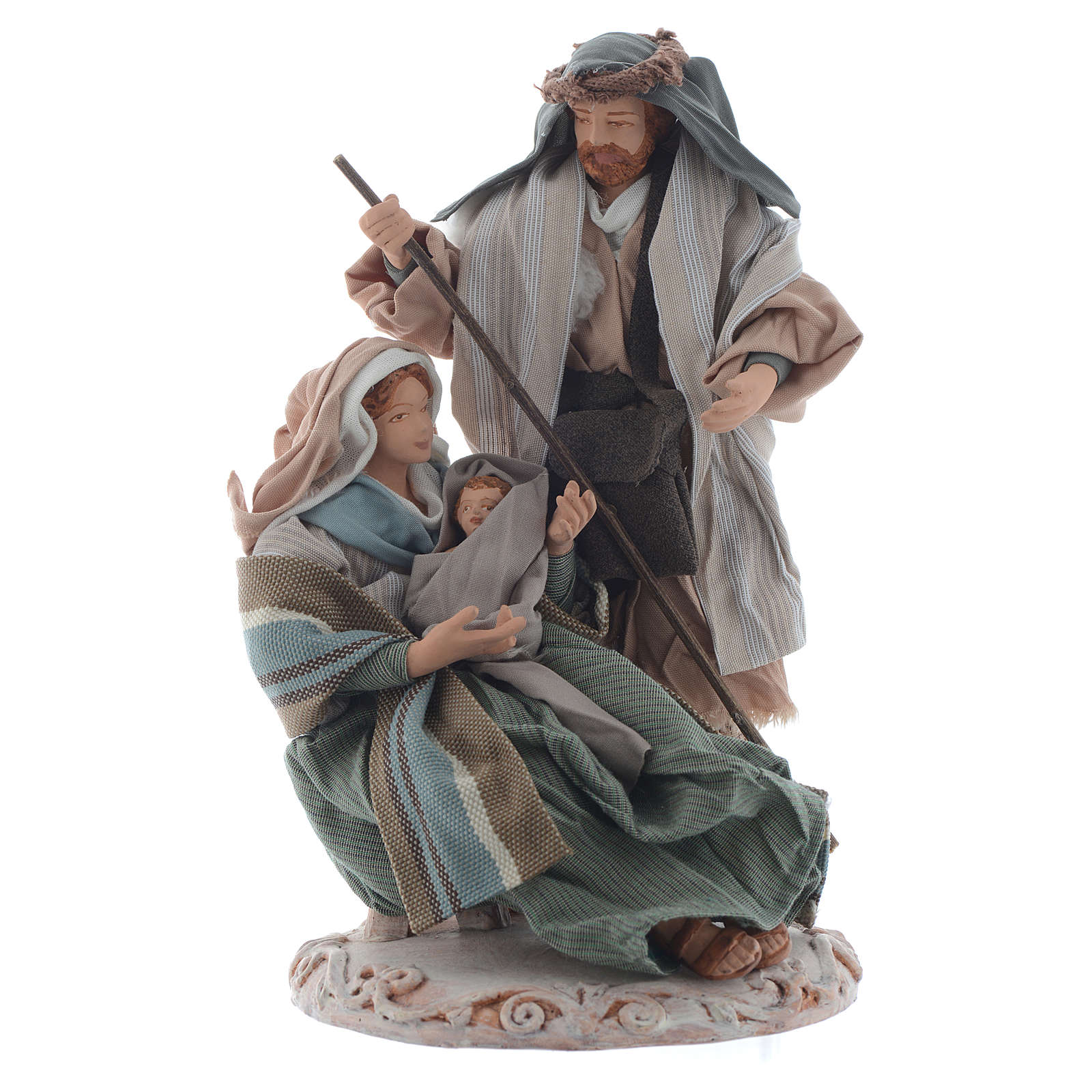 Nativity, green finish with base and box 20cm 3