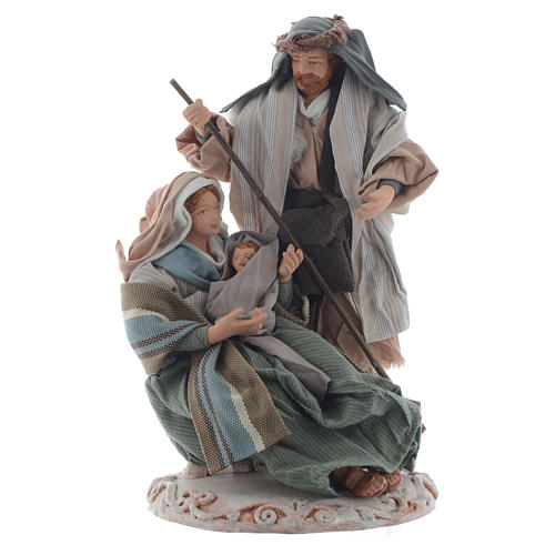 Nativity, green finish with base and box 20cm 1