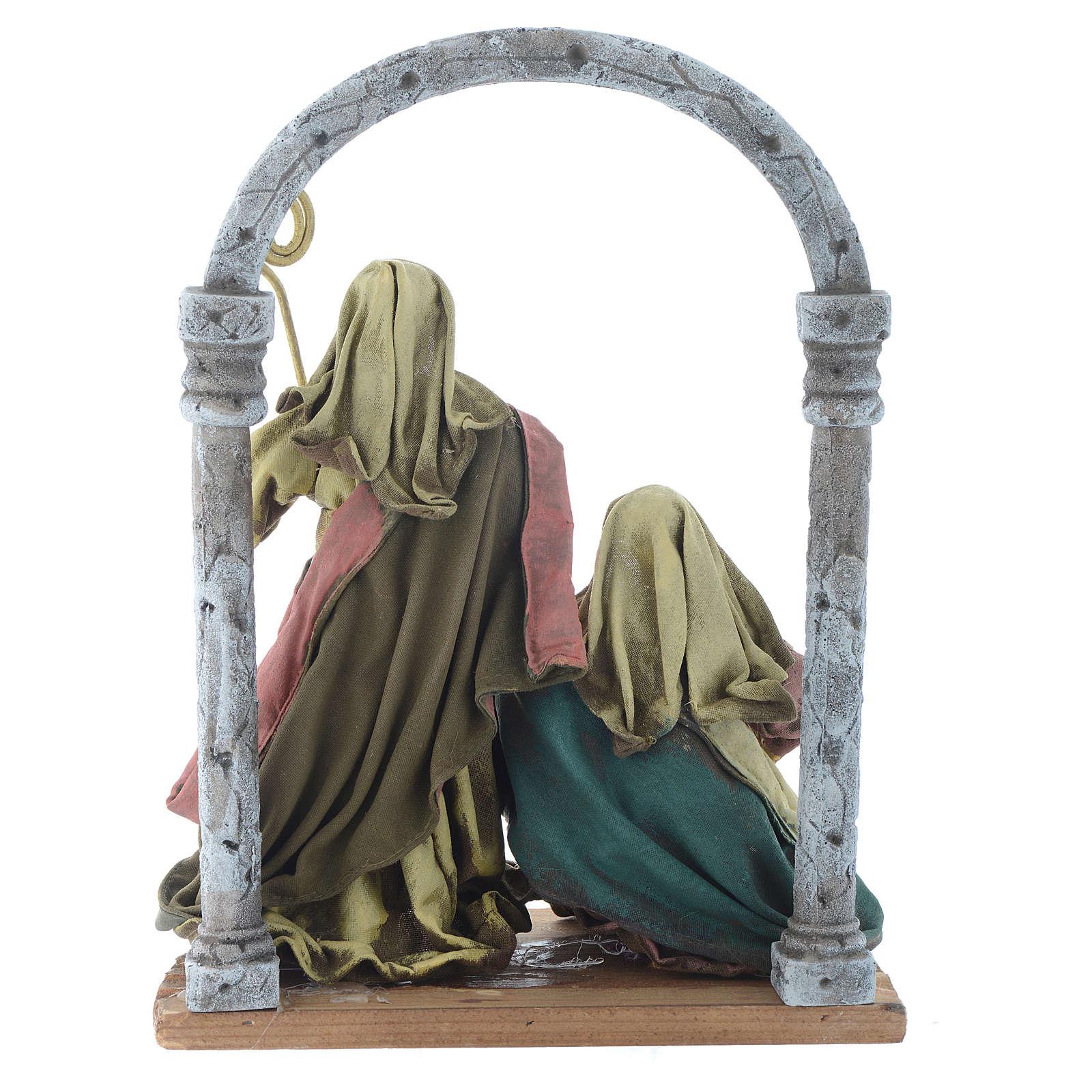 Natividad con arco 40 cm resina acabado multicolor 3